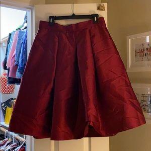 Eliza J Maroon Shiny Midi Skirt